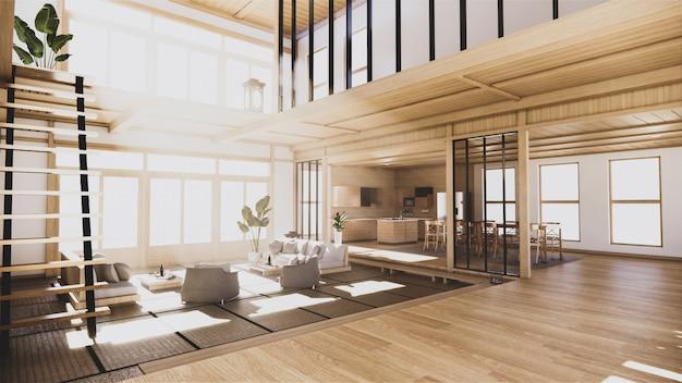 2階建ての家の1階の和風インテリア。 3dレンダリング Premium写真