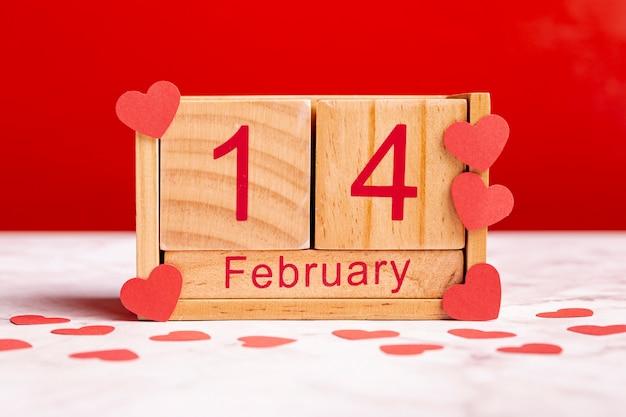 素敵な2月14日木製カレンダー 無料写真