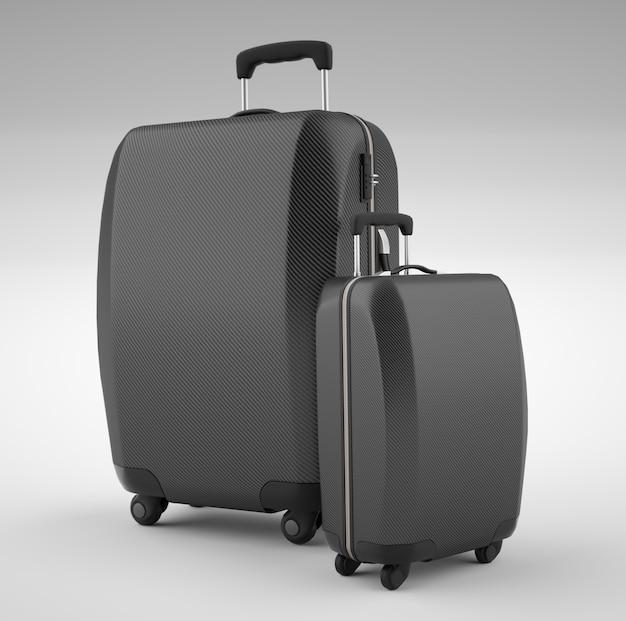 明るいに分離された2つの黒い炭素繊維トラベルバッグ。 3dレンダリング Premium写真