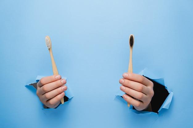 破れた青い紙の壁を通して2つの竹エコ歯ブラシを保持している女性の手。 d Premium写真