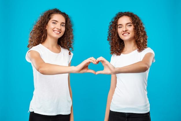 Близнецы 2 womans показывая сердце с руками над синью. Бесплатные Фотографии