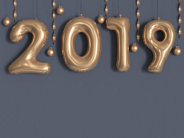 2019バルーンテキスト/番号ゴールドメタリックグレーの壁3 dレンダリング Premium写真