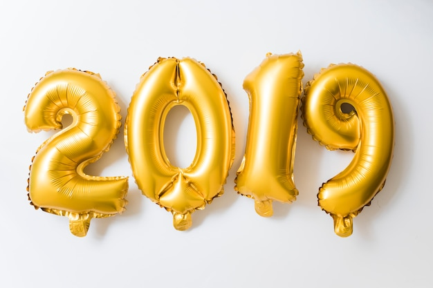 2019 inscription from yellow balloons  Free Photo