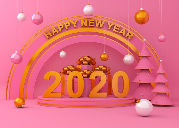 新年あけましておめでとうございます2020創造的な背景3 dレンダリング図。 Premium写真