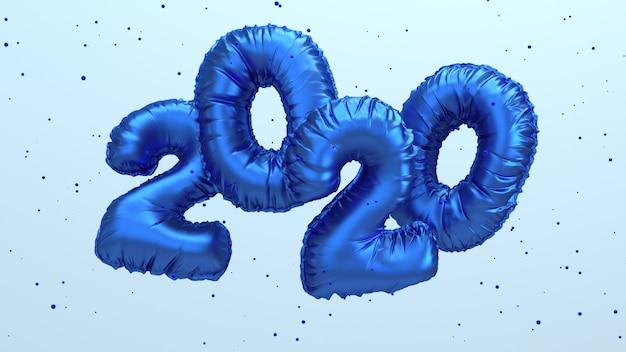 2020新年の3 dレンダリング図。空を飛んでいる青い金属箔の数字のレタリング。 Premium写真