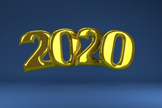 Золотые надувные фигуры 2020 на синем. надувные шарики. новый год. 3d визуализация. Premium Фотографии