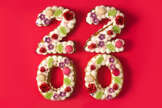 2020 cake and isolated on red background. new year concept. Premium Photo