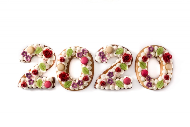 2020 cake on white surface new year concept Premium Photo