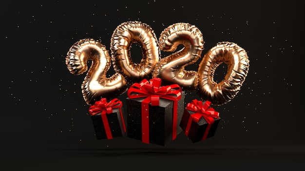 2020 golden foil ballons rendering illustration with present boxes, red ribbon, gold glitter flying. Premium Photo