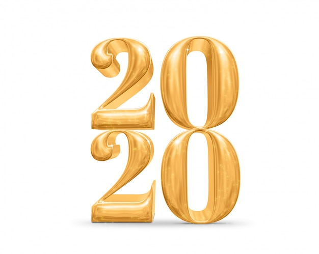 2020 happy new year golden number on white Premium Photo