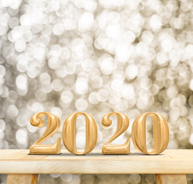 2020 happy new year wood number on wood table with sparkling gold bokeh wall Premium Photo