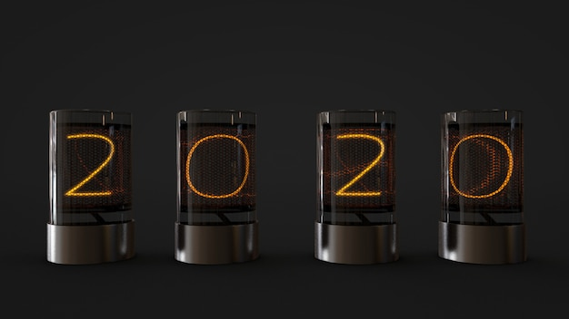 2020 lamp in glass cylinder ,3d rendering Premium Photo