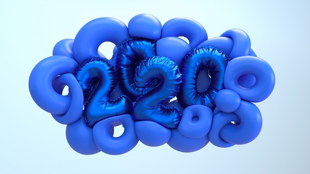 2020 new year 3d rendering illustration. blue abstract shapes with metallic foil numbers lettering. Premium Photo