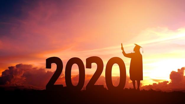 2020 новый год силуэт людей выпускной в 2020 году образование поздравление Premium Фотографии