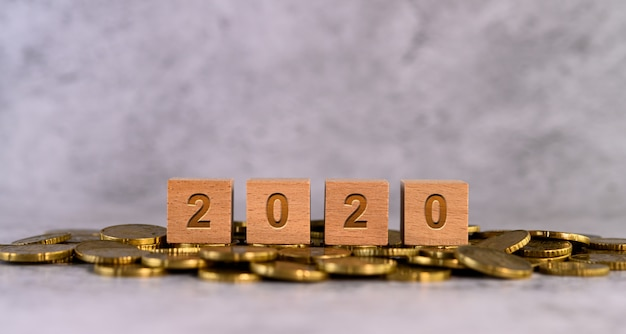 2020 word alphabet wooden cube letters placed on a gold coin Free Photo