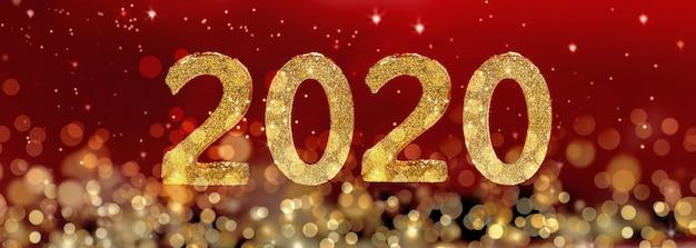 2020 новый год золотые фигуры на размытие огней и красный фон Premium Фотографии