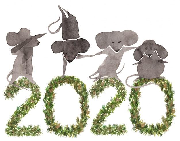かわいいマウスと2020年新年の背景 Premium写真