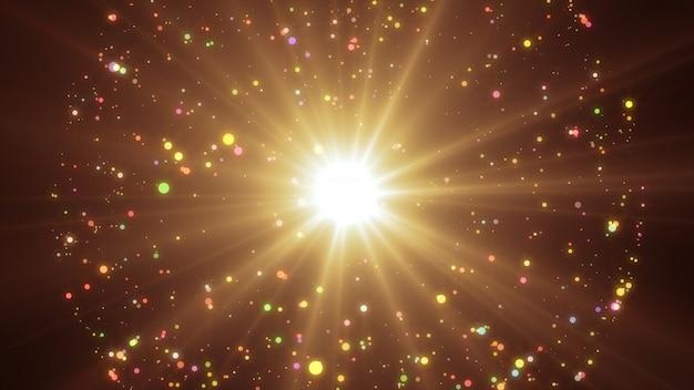 Новый год 2020. боке фон. фары абстрактные. счастливого рождества золотой блеск света. расфокусированные частицы. золотой цвет взрыв Premium Фотографии