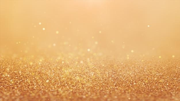 2020年。背景のボケ味。抽象的なライト。メリークリスマスの背景。ゴールドラメの光。デフォーカス粒子。金色。床 Premium写真