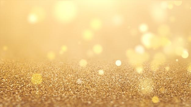 2020年。背景のボケ味。抽象的なライト。メリークリスマスの背景。ゴールドラメの光。デフォーカス粒子。金色 Premium写真