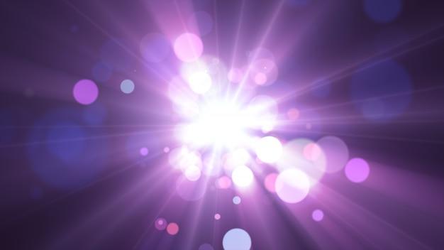 2020年。背景のボケ味。抽象的なライト。メリークリスマスの背景。キラキラ光。デフォーカス粒子。紫とピンクの色。中央の光線 Premium写真