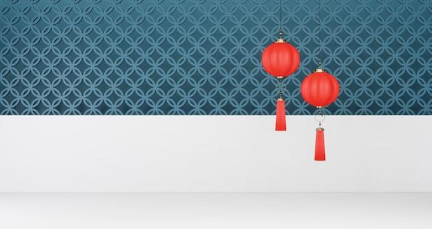 2020 китайский новый год. красные китайские фонарики висят на фоне сине-белой стены Premium Фотографии