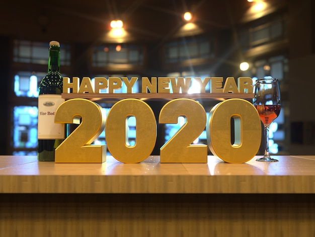 С новым годом 2020 золотой текст за деревянным столом вид спереди Premium Фотографии