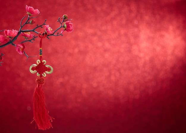 赤の背景に中国の旧正月2020年装飾 Premium写真