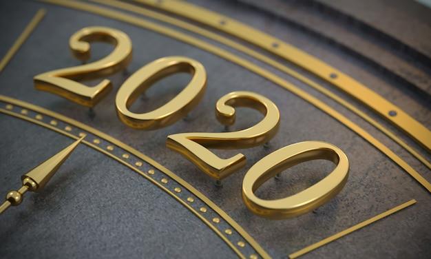Золотой новый год 2020 года крупным планом Premium Фотографии