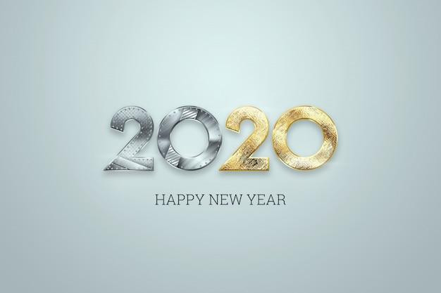 С новым годом, металлические и золотые номера 2020 дизайн на светлом фоне. счастливого рождества Premium Фотографии