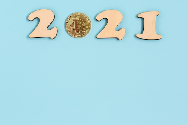 2021 and cryptocurrency coin Premium Photo