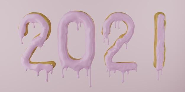 2021 from a donut with dripping icing on a pink background, 3d render Premium Photo