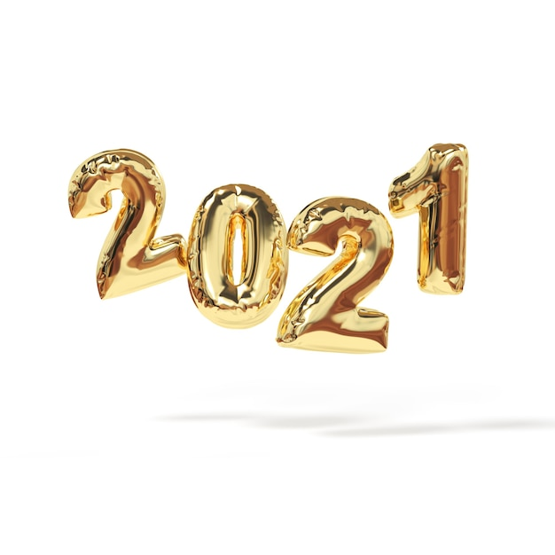2021 happy new year. 3d render sign of bollon gold color. Premium Photo