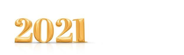 Золотое число с новым годом 2021. 3d рендеринг Premium Фотографии