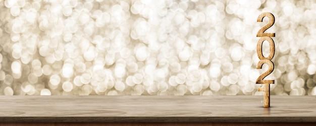 Деревянное число с новым годом 2021 (3d-рендеринг) на деревянном столе со сверкающей золотой стеной боке Premium Фотографии