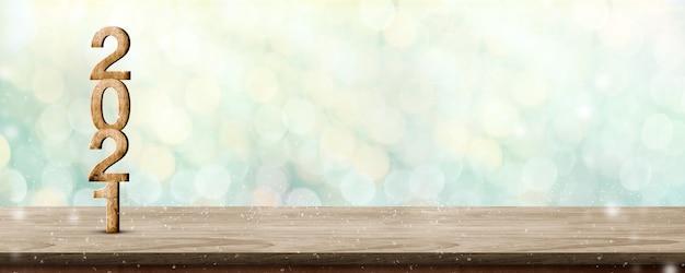2021 год с новым годом деревянный номер (3d-рендеринг) на деревянном столе со сверкающей зеленой елкой Premium Фотографии