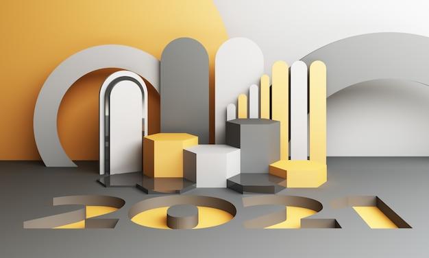 2021 노란색과 회색 기하학적 모양 3d 렌더링 프리미엄 사진