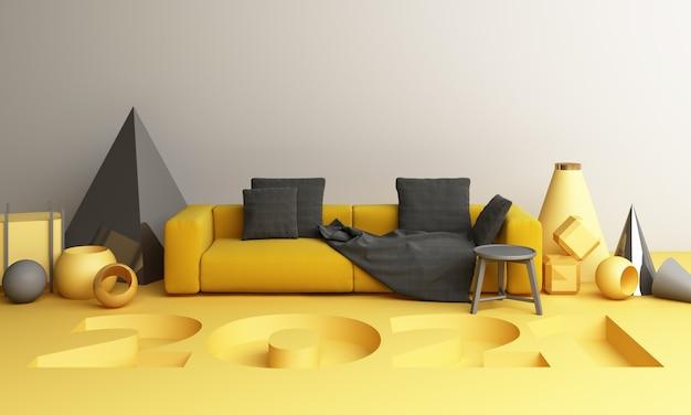 소파 3d 렌더링 2021 노란색과 회색 기하학적 모양 프리미엄 사진