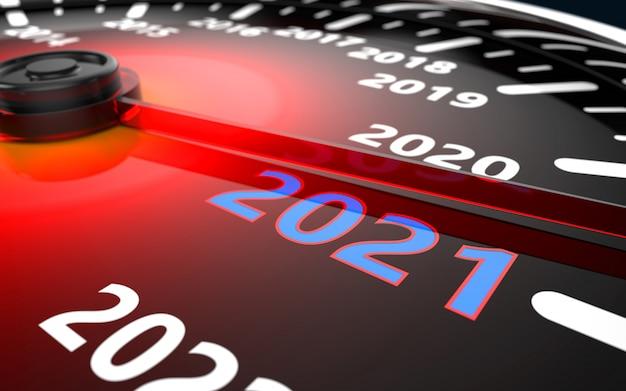 Концепция обратного отсчета спидометра автомобиля 2021 года Premium Фотографии