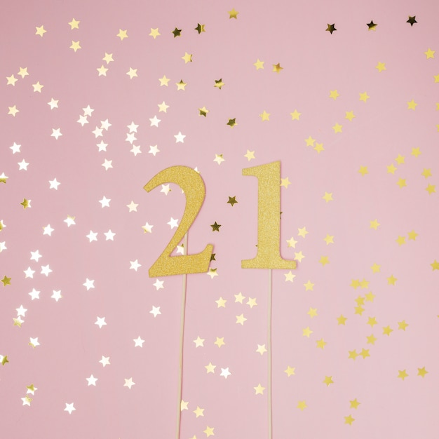 21st birthday with pink background Free Photo