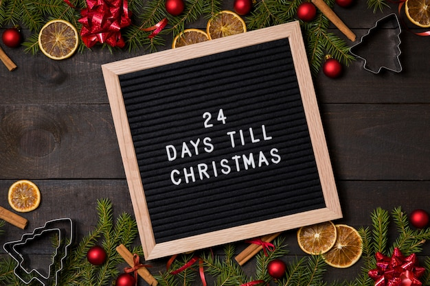 Countdown Till Christmas.24 Days Till Christmas Countdown Letter Board On Wood