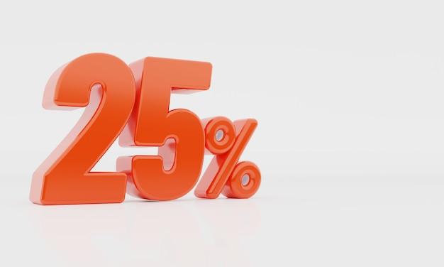 25%3dレンダリング。広告バナー、ポスターチラシプロモーションアイテム。 ///複雑なタグは使用しない//単語タグは1つだけのシンプルなタグ/// Premium写真
