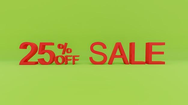 25-процентный текст продажи в 3d зеленой стене Premium Фотографии