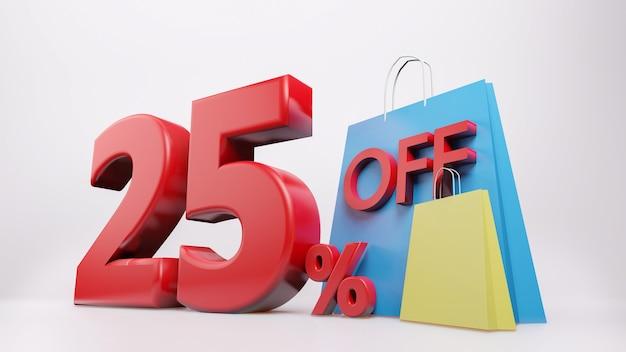 Символ 25% с сумкой для покупок Premium Фотографии