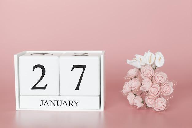 27 января 27 день месяца. календарный куб на современной розовой предпосылке, концепции дела и важного события. Premium Фотографии
