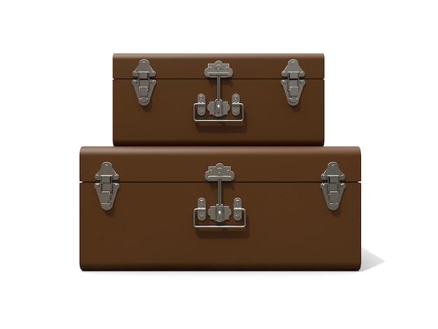 絶妙な留め金が付いた2つの茶色の革のスーツケースのセット。何世紀も昔の伝統を持つクラシックなプレミアムデザイン。ビンテージスタイルのモダンな新製品 Premium写真