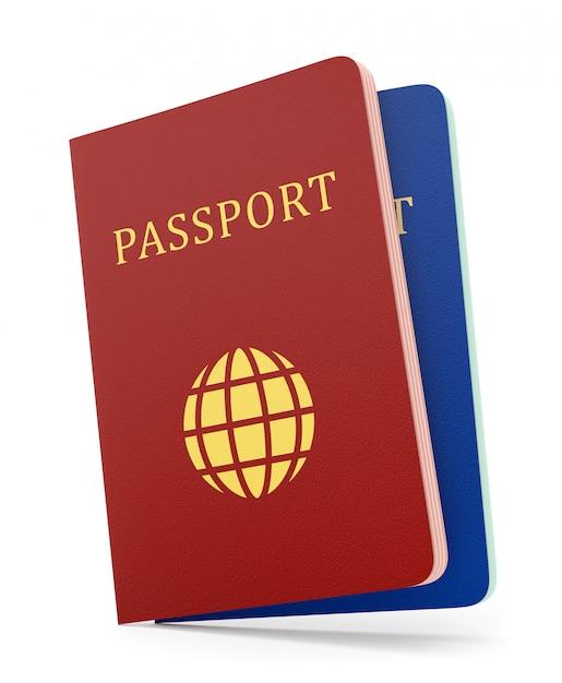 白で隔離される2つのパスポート Premium写真