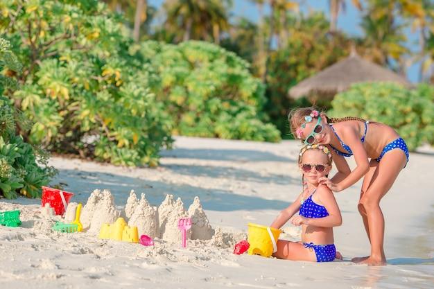 砂の城を作り、熱帯のビーチで楽しんで2人の子供 Premium写真