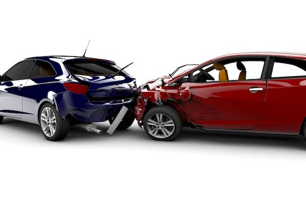 2台の車との事故 Premium写真