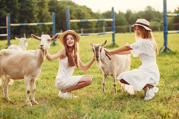 ヤギとフィールドで2つのかわいい女の子 無料写真